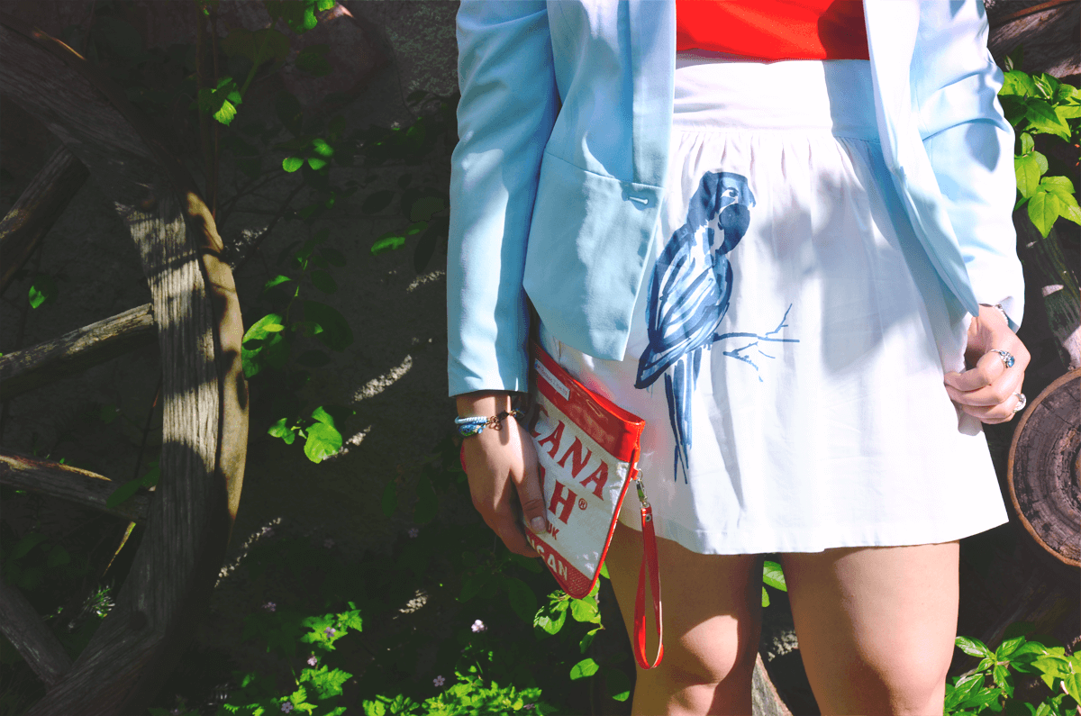 fashion dupes look summer spring blue red white parrot zara pimkie