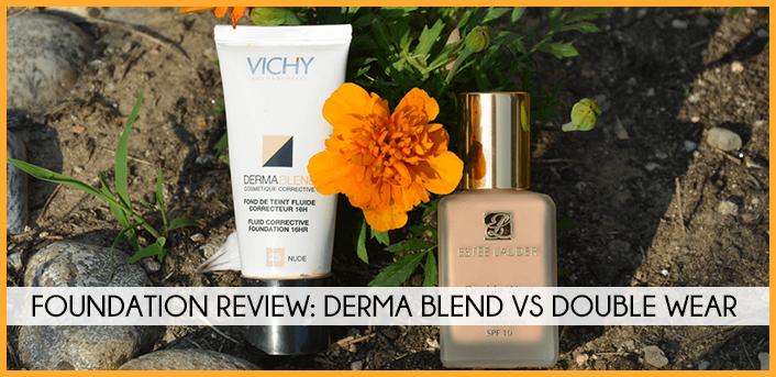foundation review- Derma Blend vs Double Wear