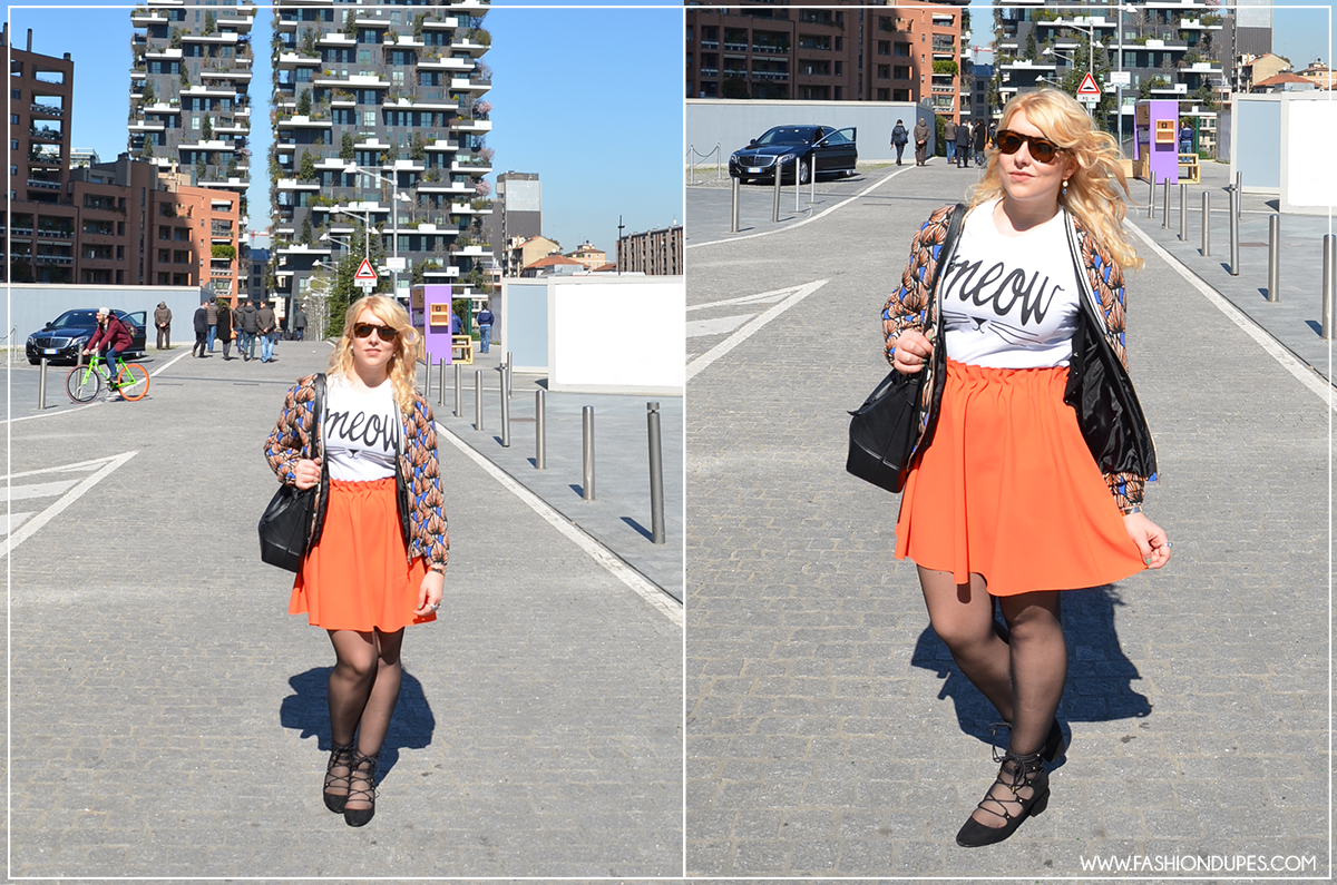 look-outfit-style-fashion-dupes-orange-arancione-blazer-skirt