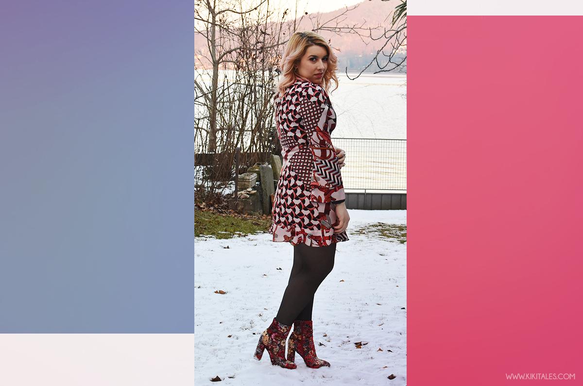 Look per l'autunno - Abito Zara con texture rosa e bordeaux - scarpe tappezzeria - outfit serale per la Ford social home
