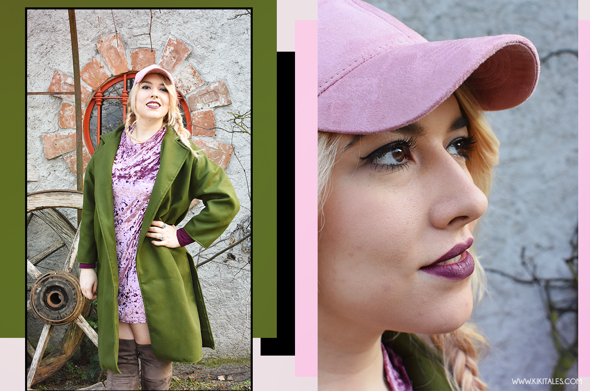 cappellino-da-baseball-hat-velluto-suede-stivali-cuissardes-kiki-tales-verde-militare-rosa-antico-look-outfit-ootd-ootn-style-inverno-autunno