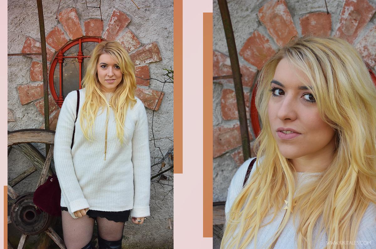Outfit: maglione con calze a rete