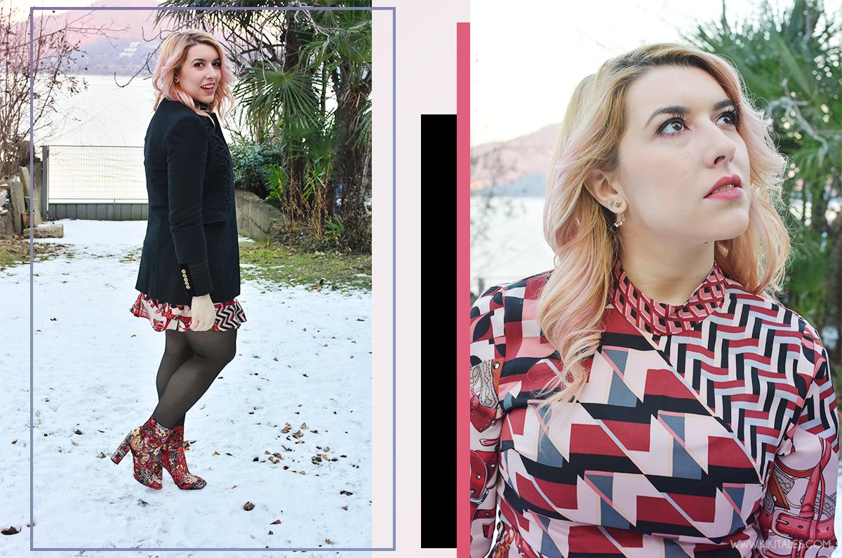 Abito Zara con texture rosa e bordeaux - scarpe tappezzeria - outfit serale per la Ford social home