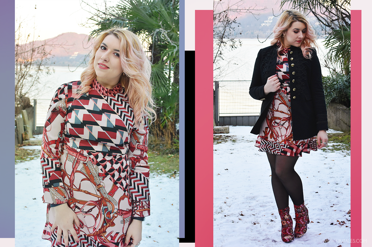 Ootd - Abito Zara con texture rosa e bordeaux - scarpe tappezzeria - outfit serale per la Ford social home