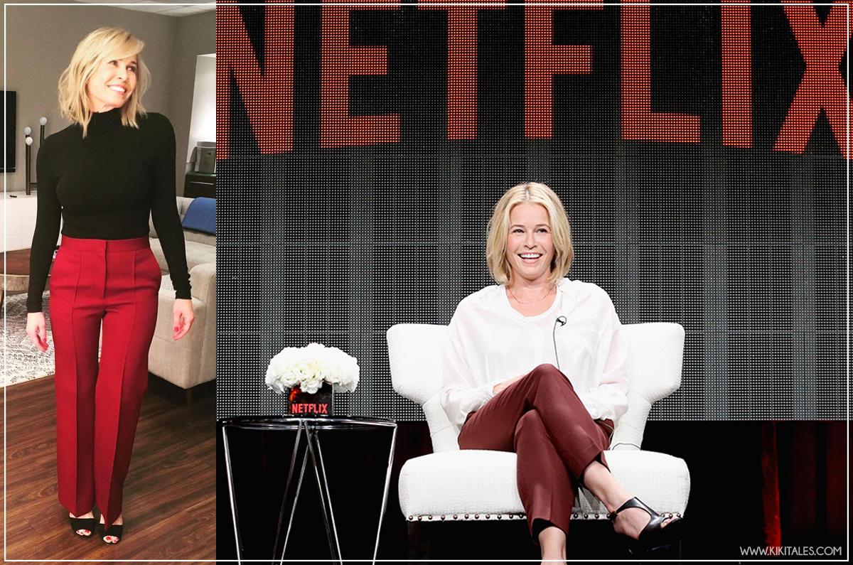 pantaloni colorati chic, classici ed eleganti - Chelsea Handler look su Netflix
