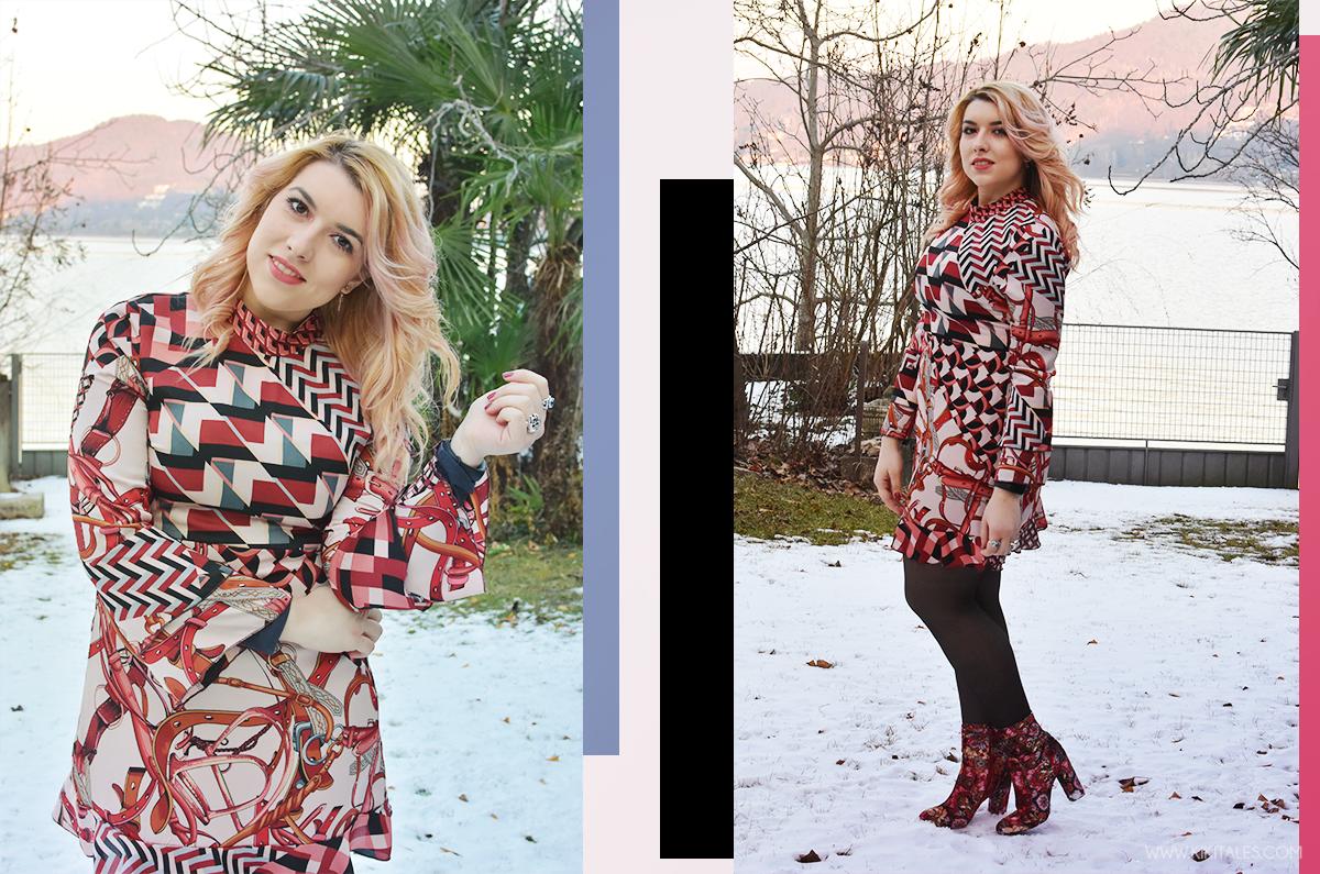 Look invernale - Abito Zara con texture rosa e bordeaux - scarpe tappezzeria - outfit serale per la Ford social home