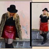 outfit kiki tales gonna in vernice rossa zara calze a rete e pelliccia leopardata