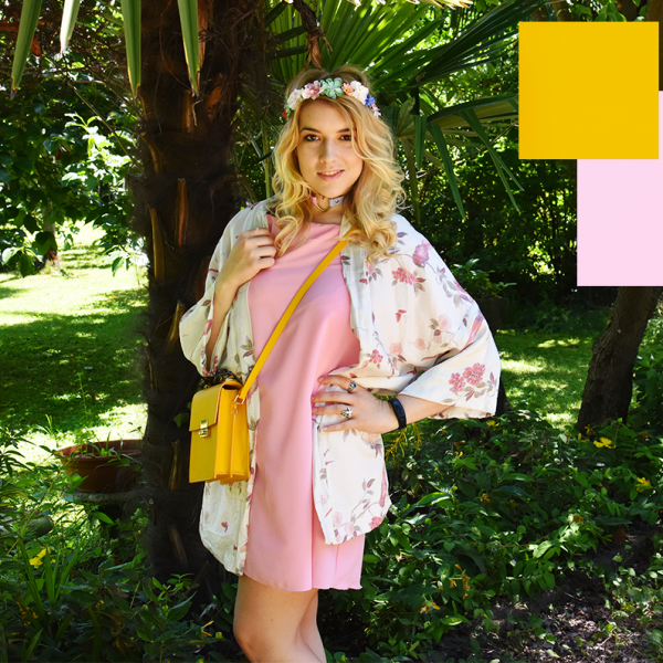 look trend color block outfit ootd ootn kiki tales estate summer giallo rosa blu blue yellow pink