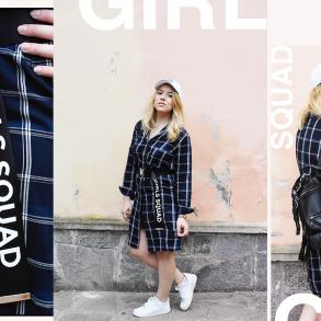 cintura con scritta kiki tales look outfit camicia tartan girl squad cintura stradivarius