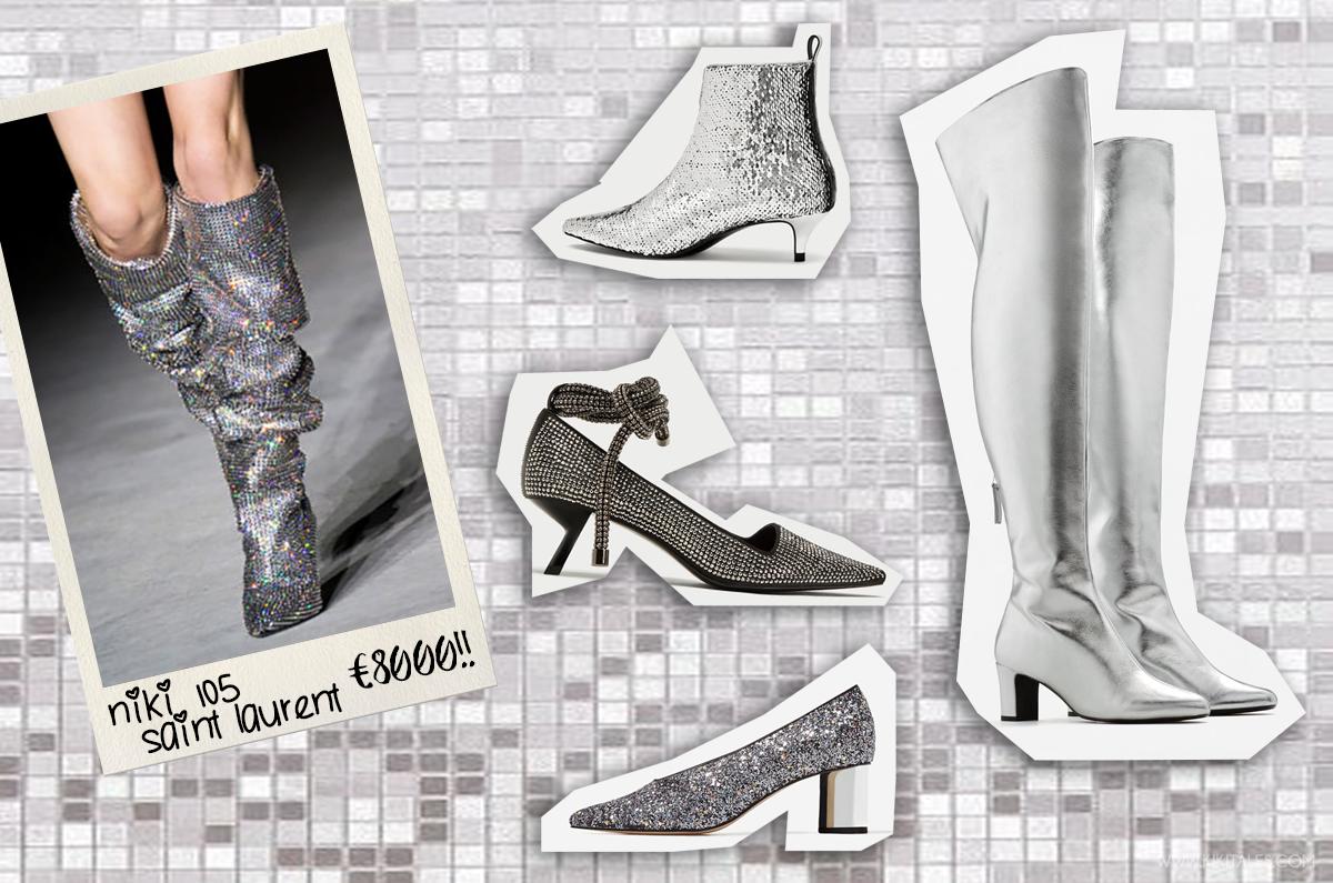 trend scarpe argento stivali argento dupe saint laurent niki