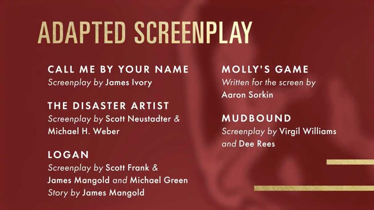 Adapted Screenplay - Sceneggiatura Non Originale Nomination Oscar 2018