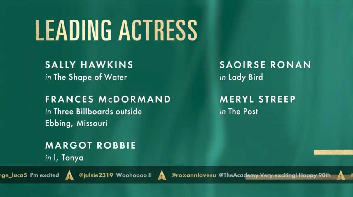 attrice protagonista leading actress nomination oscar 2018