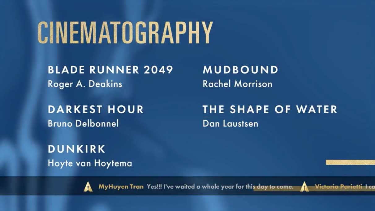 Cinematography - Miglior Fotografia Nomination Oscar 2018