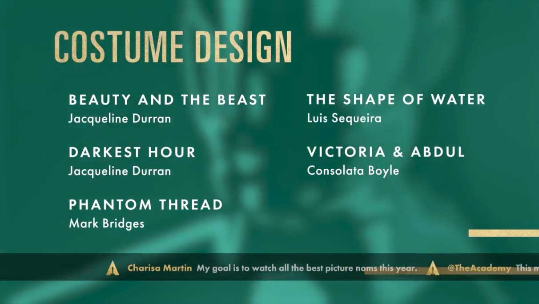 Costume Design - Miglior Costumi Nomination Oscar 2018