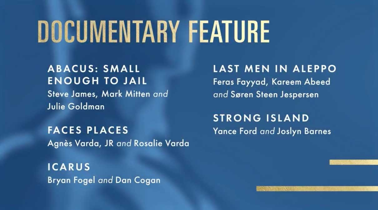 Best Documentary Feature - Miglior Documentario Nomination Oscar 2018