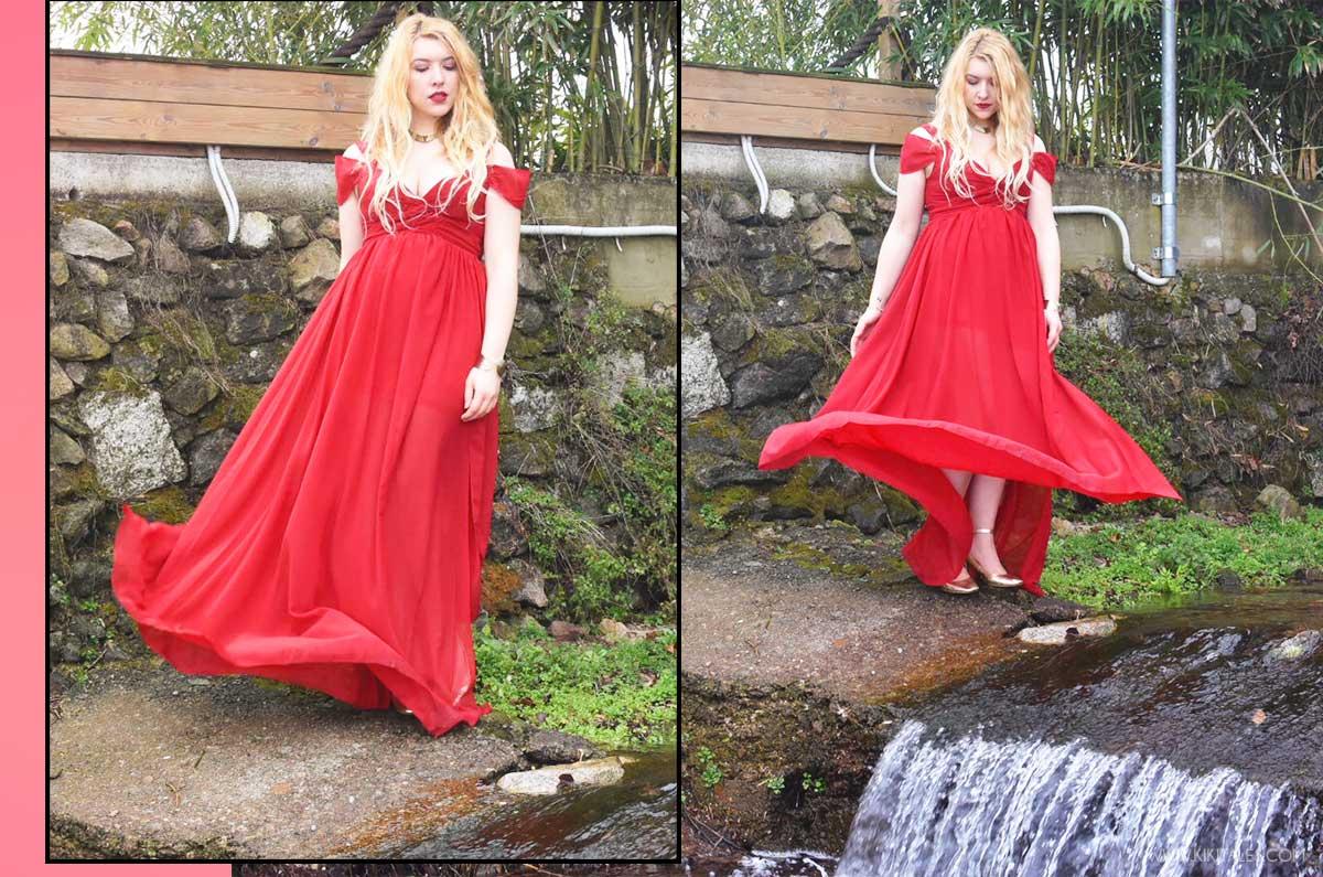 festa abito rosso elegante san valentino kiki tales shein