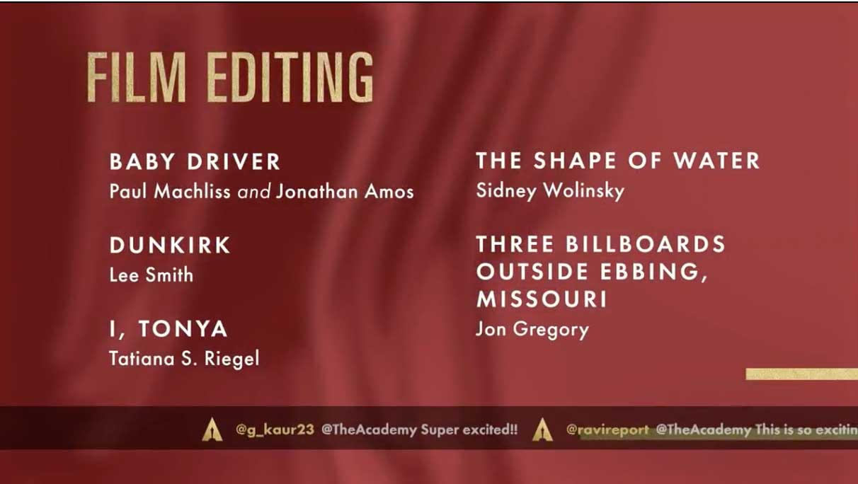 Film Editing - Miglior Montaggio Nomination Oscar 2018