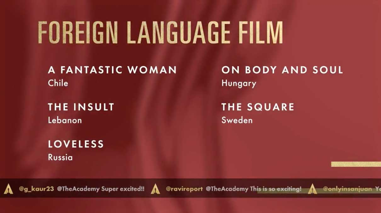 Foreing Language Film - Miglior Film Straniero Nomination Oscar 2018