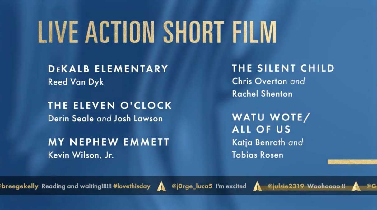 Best Live Action Short Film - Miglior Cortometraggio Nomination Oscar 2018