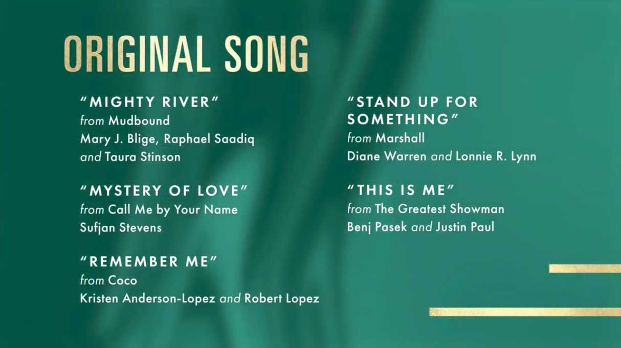 Best Original Song - Miglior Canzone Nomination Oscar 2018