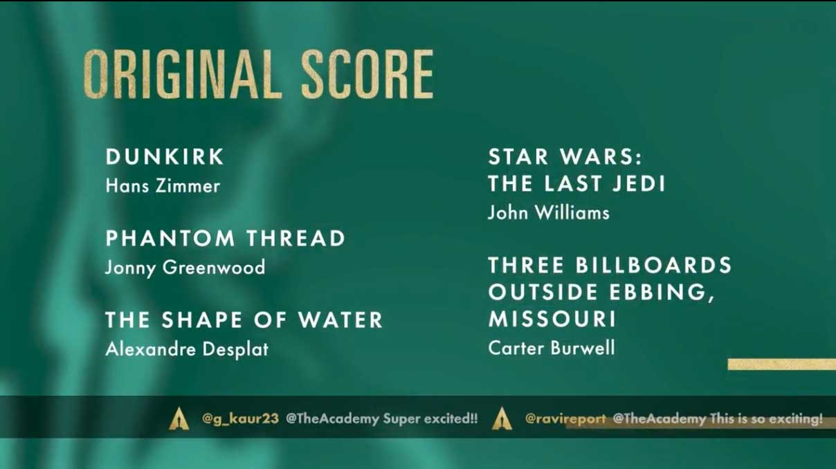 Best Original Score - Miglior Colonna Sonora Nomination Oscar 2018