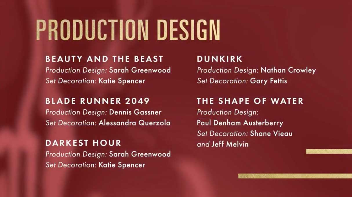 production design miglior scenografia nomination oscar 2018