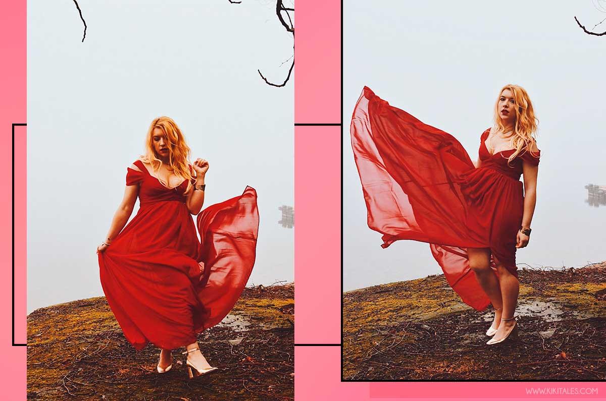 sexy romantico abito rosso elegante san valentino kiki tales shein