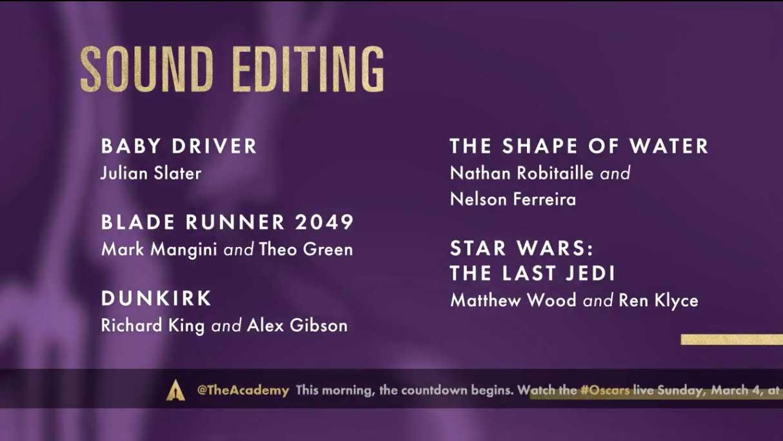 Best Sound Editing - Miglior Montaggio Sonoro Oscar 2018