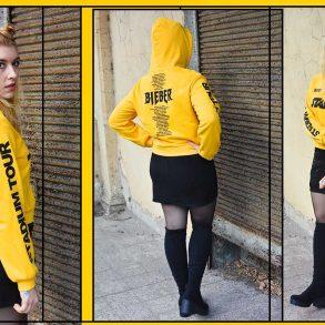 stivali cuissardes anni novanta saldi stadium tour justin bieber felpa gialla hm look outfit kiki tales sporty look 90s