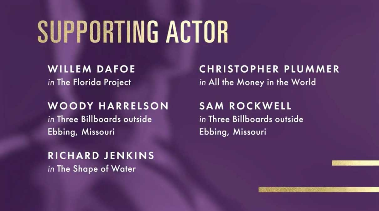 Supporting Actor - Attore Non Protagonista Nomination Oscar 2018