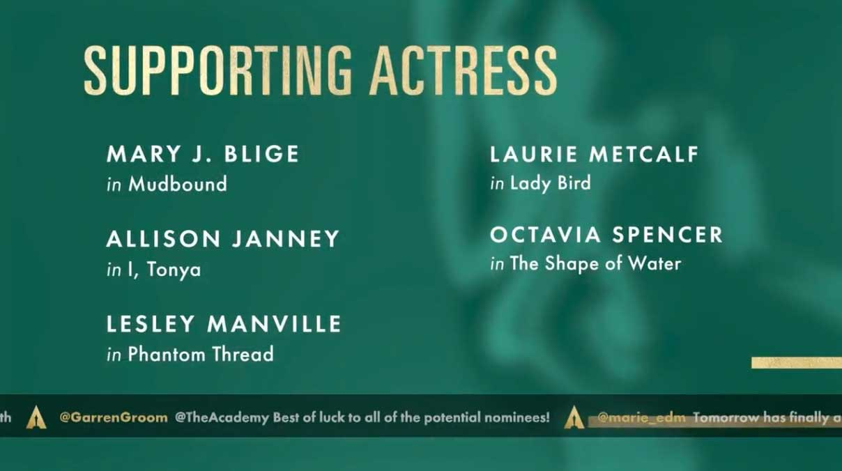 Supporting Actress - Attrice Non Protagonista Nomination Oscar 2018