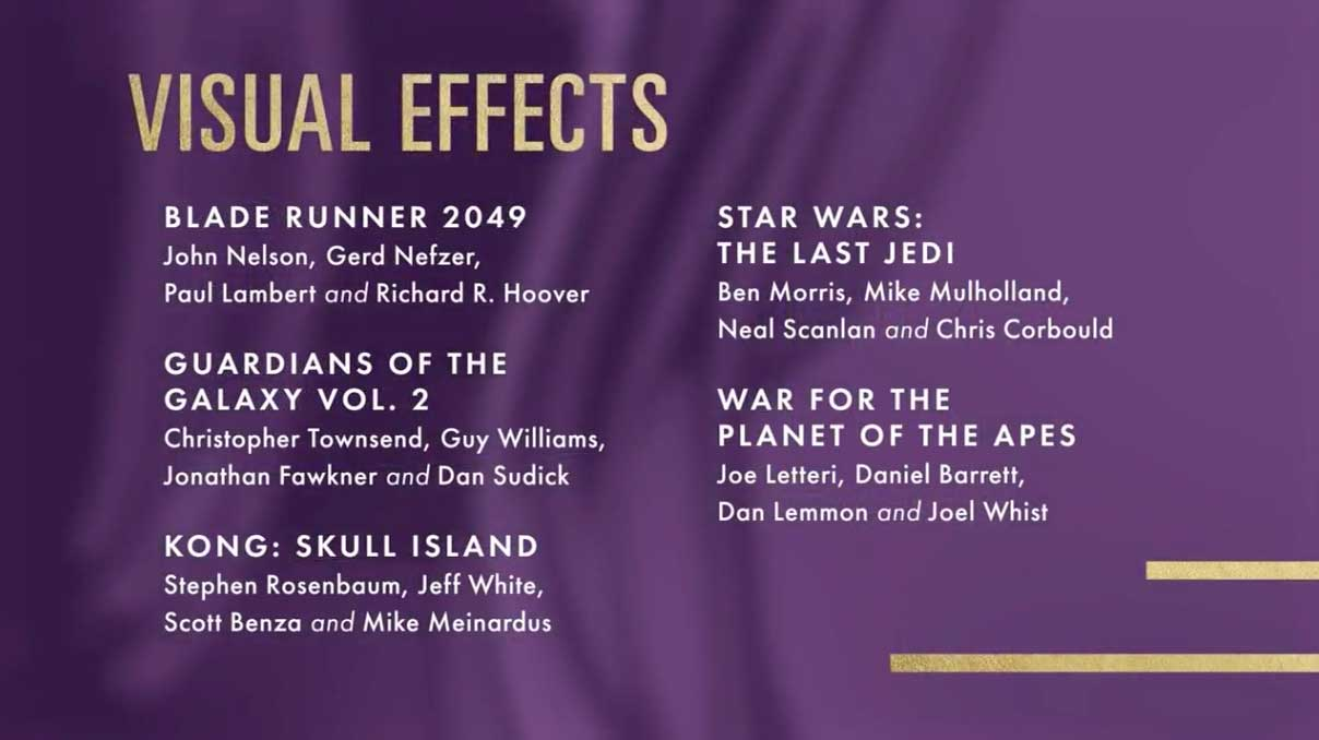 Best Visual Effects - Miglior Effetti Speciali Nomination Oscar 2018