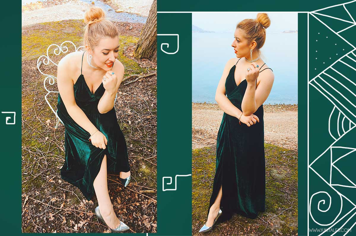 outfit chic elegante abito verde di velluto sexy