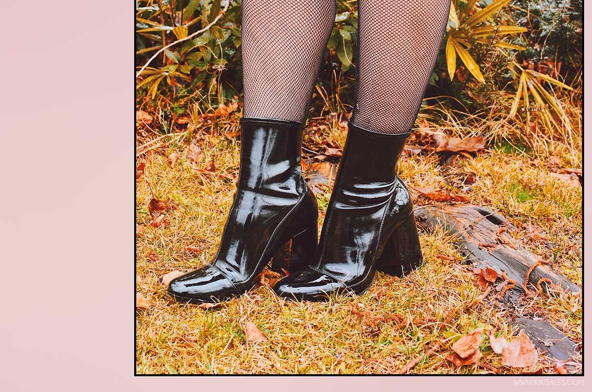 scarpe di vernice stivaletti abito perle nero con piume shein kiki tales