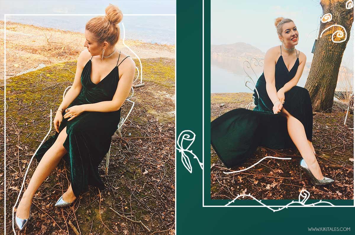 schiena scoperta abito verde di velluto sexy