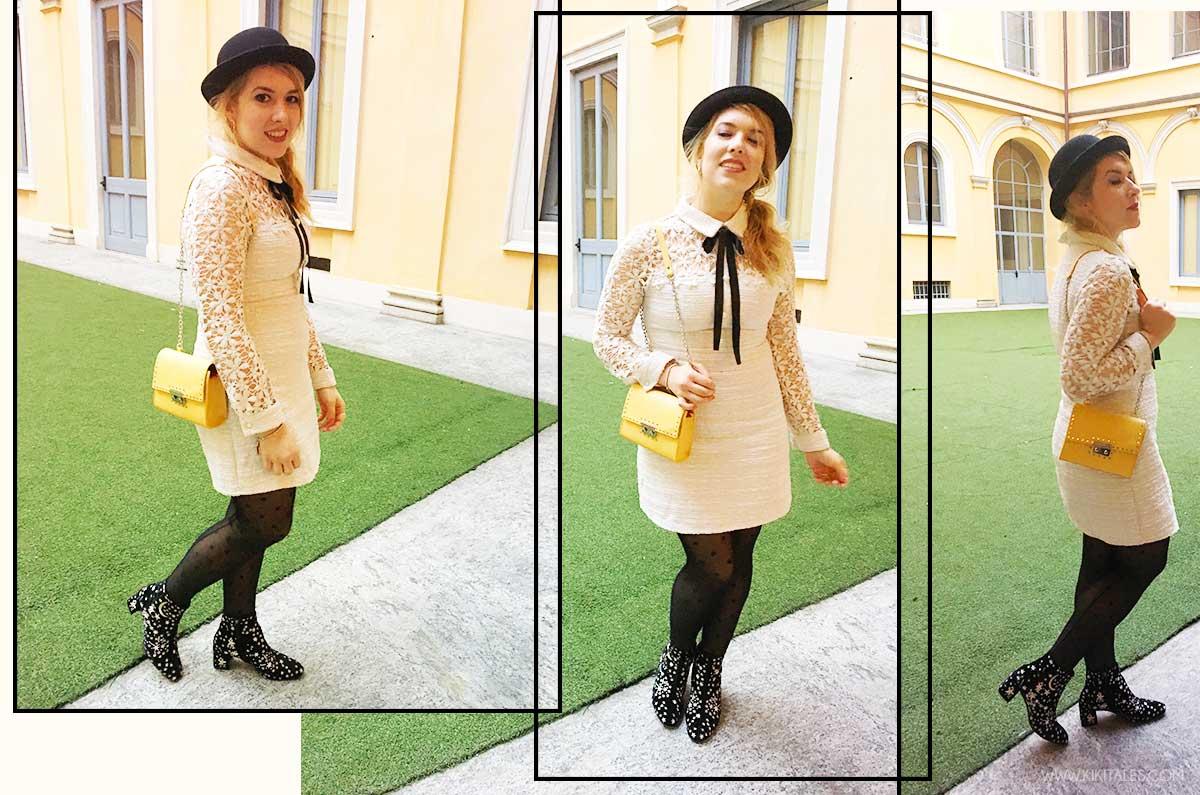 borsa gialla Come indossare un abito vestito di pizzo macramè