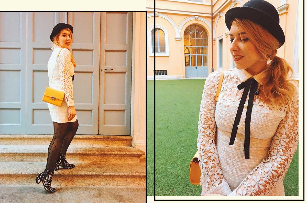 kiki tales look primavera abito bianco fiorato abito pizzo macramè shein