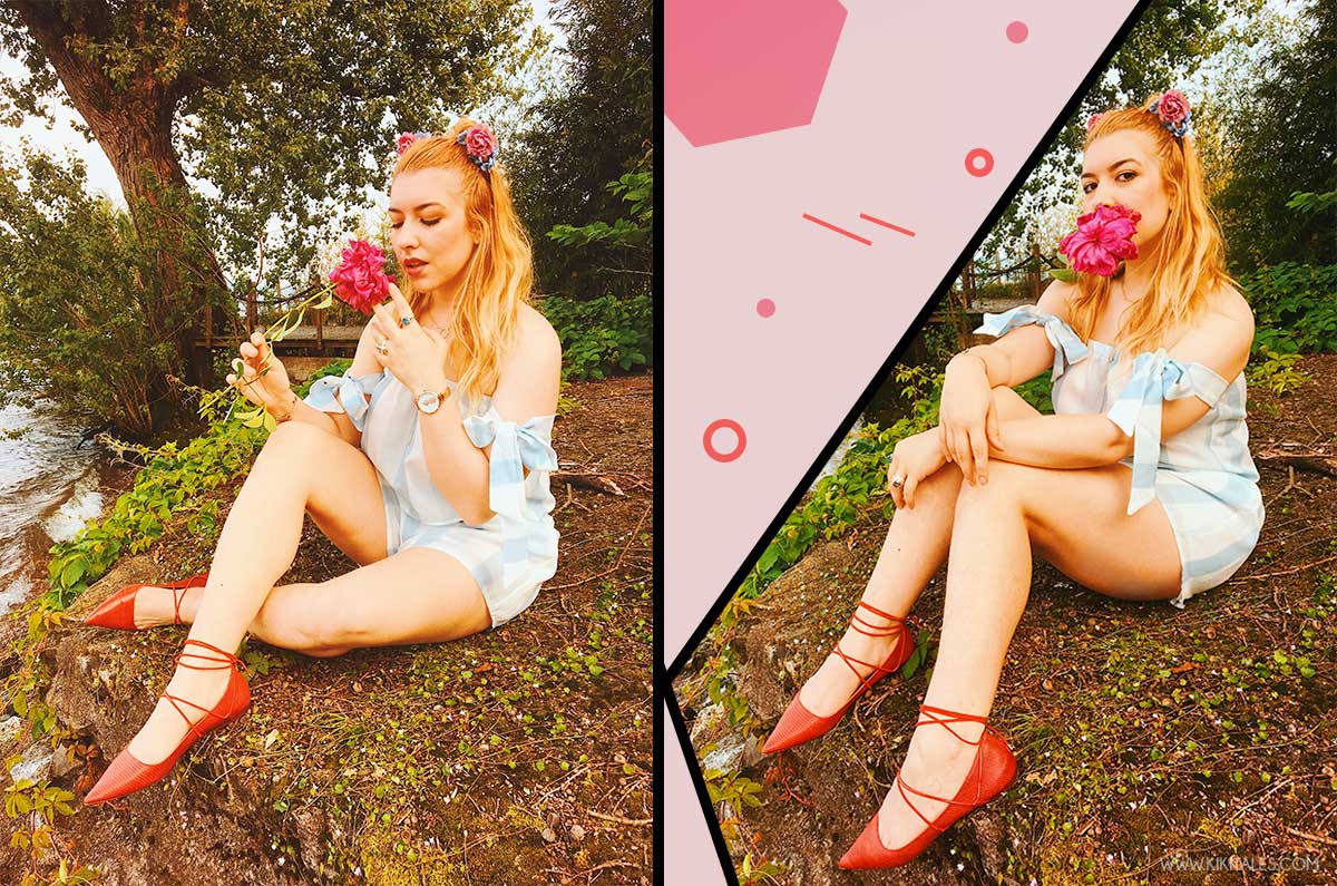shorts e crop top a righe azzurre shein copricostume vintage kiki tales look outfit estate