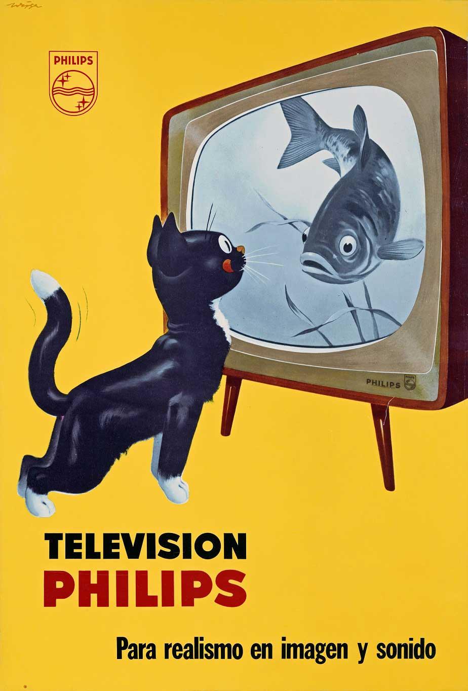 evoluzione della tv: pubblicità Philips dei primi anni '60 rivolta al mercato spagnolo.