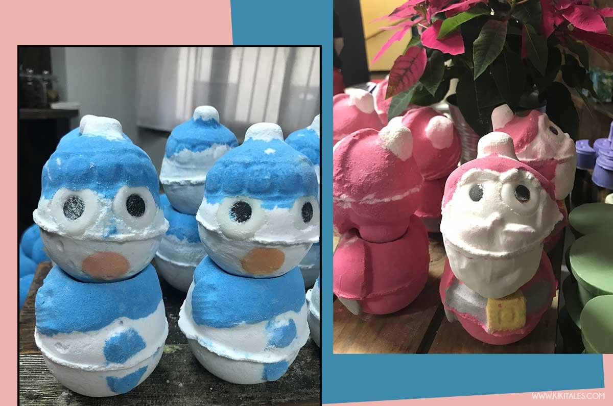 Snowman Bom Bom e Santa Bom Bom della collezione di Lush per Natale