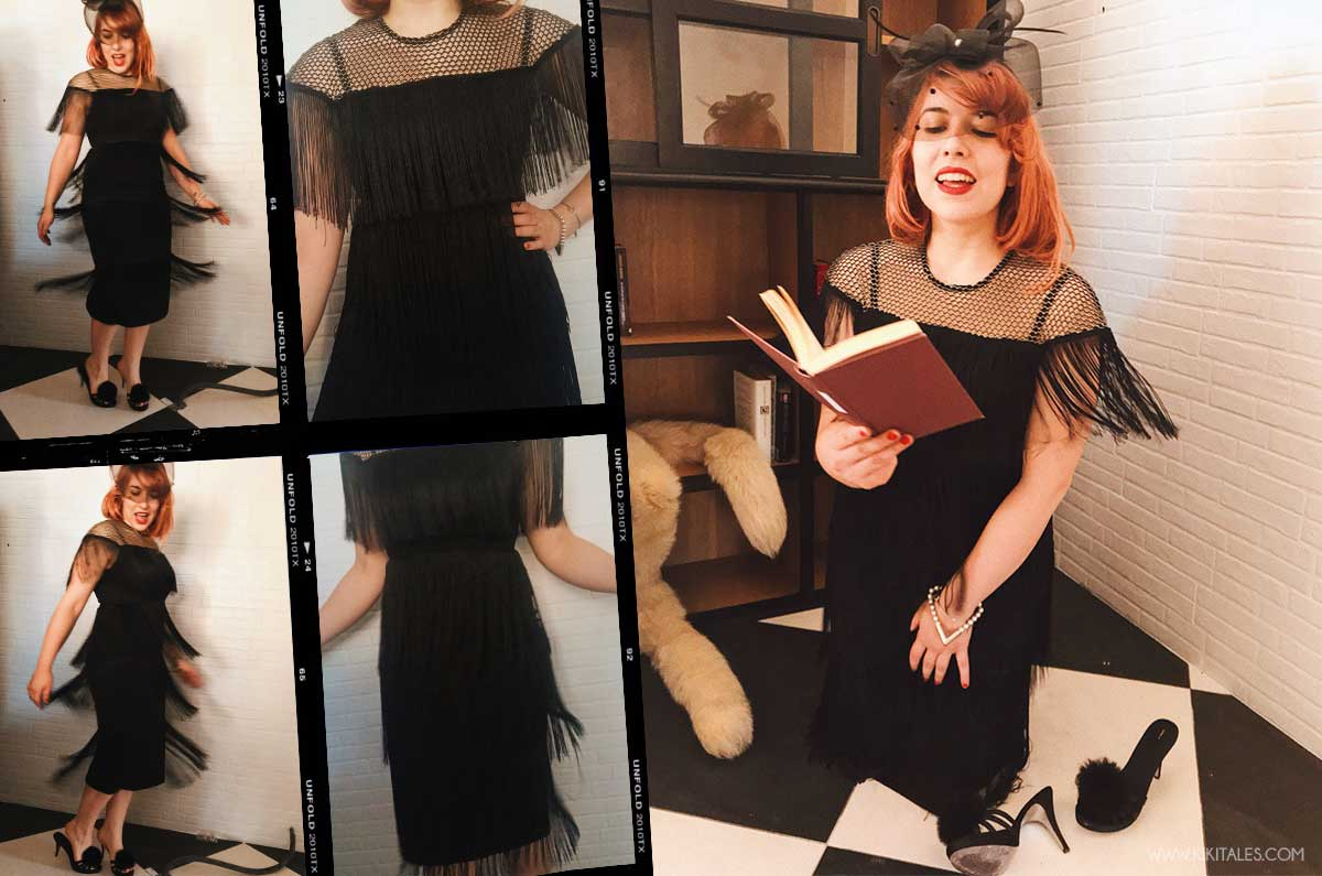 vestito nero abito anni 20 venti per festa a tema