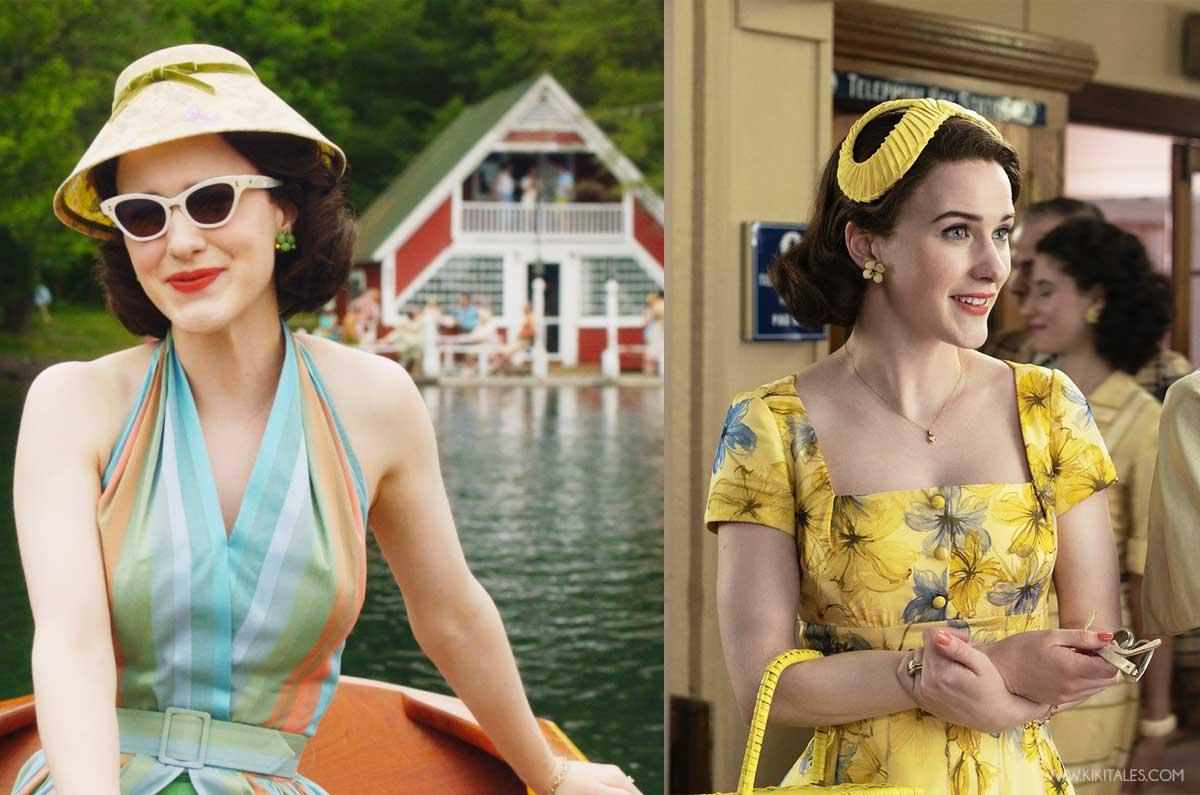 abiti super colorati anni 50 con Mrs Maisel