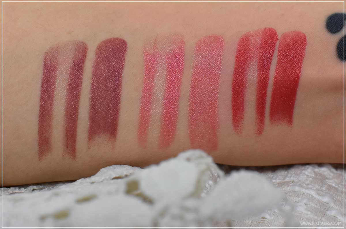 Swatches rossetti Fairy Sins linea make up di Paolo Guatelli