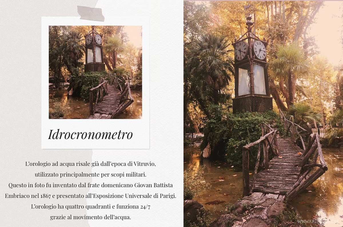 Idrocronometro l'orologio ad acqua del Pincio, Roma