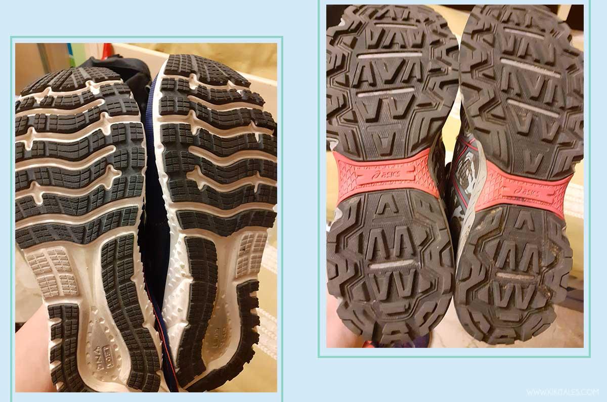 Scegliere le scarpe adatte per correre in città (sx) o nella natura (dx)
