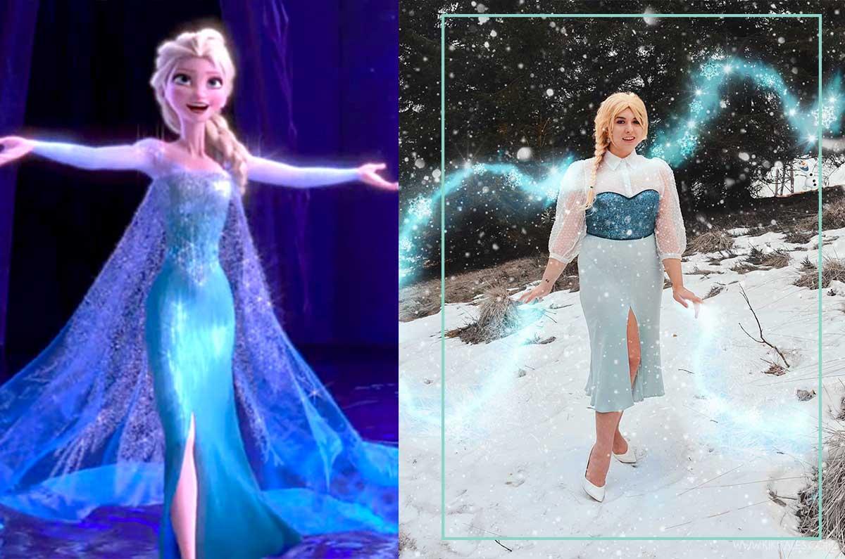 copia il look di Elsa con abito blu lungo