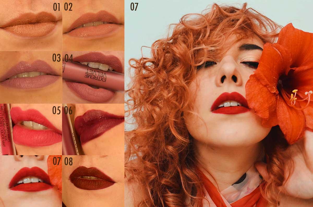 Swatches sulle labbra rossetti liquidi Extreme Velvet Mesauda