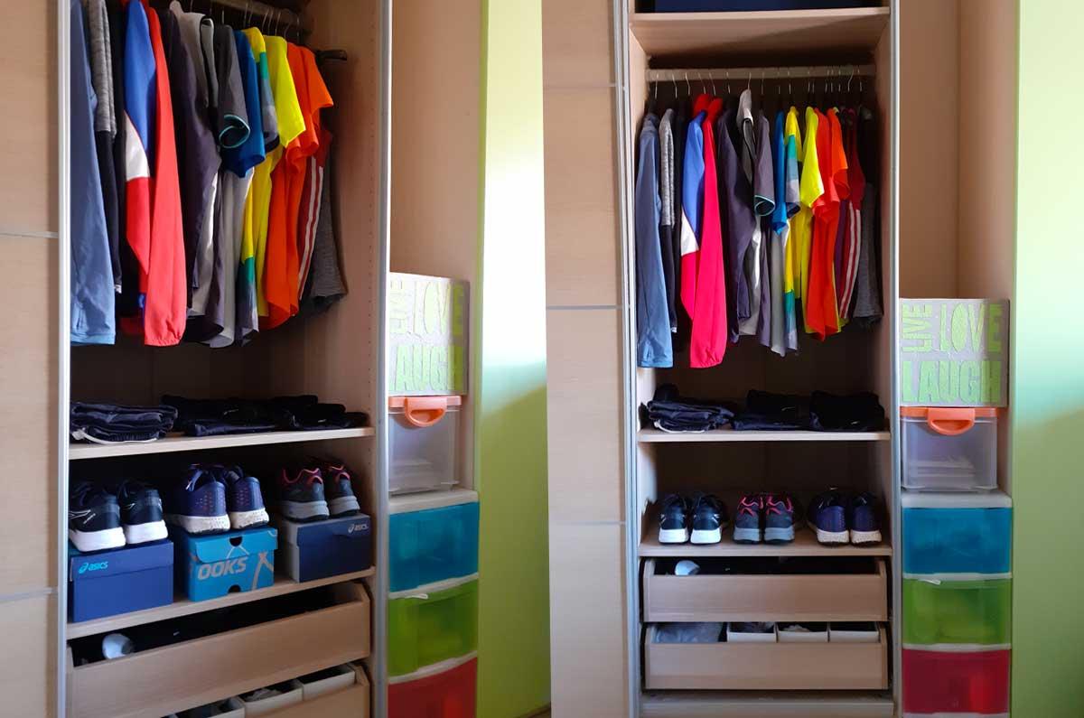 come mettere in ordine l'abbigliamento sportivo nell'armadio