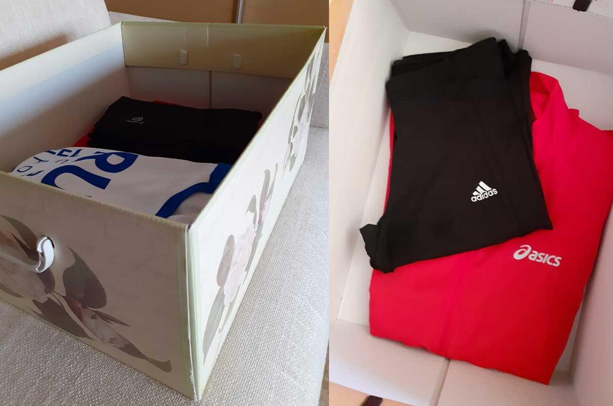 come mettere in ordine l'abbigliamento sportivo nelle scatole