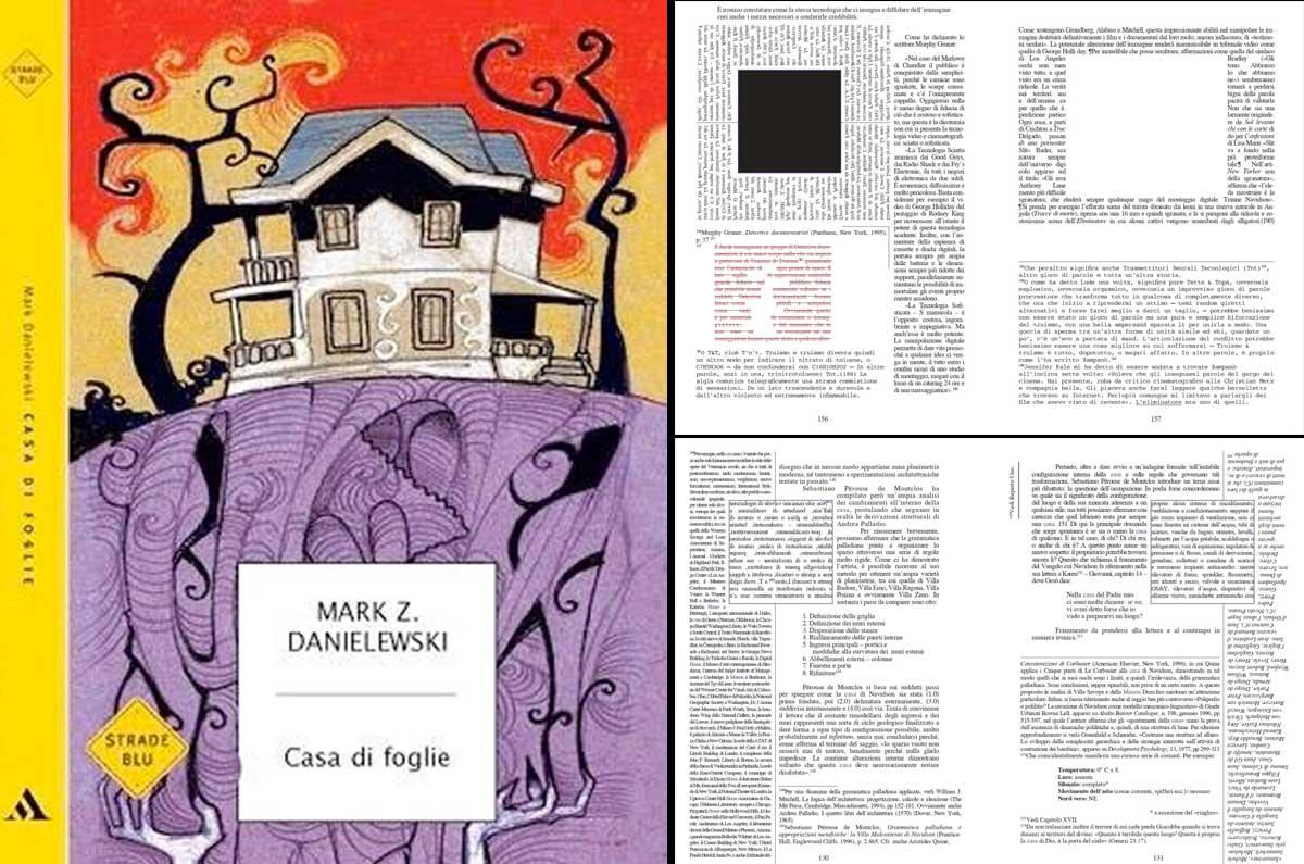 grafica delle pagine del libro casa di foglie